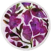 Round Beach Towel featuring the painting Azaleas by Julie Maas