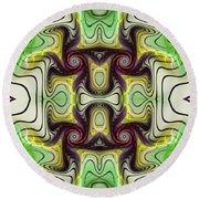 Aztec Art Design Round Beach Towel by Deborah Benoit