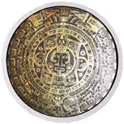 Round Beach Towel featuring the drawing Aztec Calendar by Michelle Dallocchio