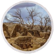 Aztec Ruins, New Mexico Round Beach Towel