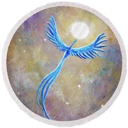 Azure Blue Phoenix Rising Round Beach Towel