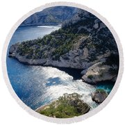 Azure Calanques Round Beach Towel