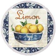 Azure Lemon 3 Round Beach Towel