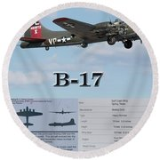 Round Beach Towel featuring the photograph B 17 by Geraldine DeBoer