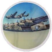 B-24 Liberator Bomber Round Beach Towel