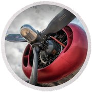 B-24j Liberator Engine II Round Beach Towel