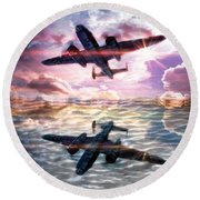 Round Beach Towel featuring the digital art B-25b Usaaf by Aaron Berg