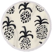 B And W Pineapple Print Round Beach Towel by Anne Seay