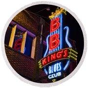B B Kings On Beale Street Round Beach Towel by Stephen Stookey