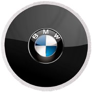 B M W  3 D Badge On Black Round Beach Towel