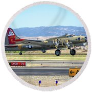 B17 Flying Fortress Takeoff At Livermore Round Beach Towel