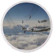 Round Beach Towel featuring the digital art B17 - Luftwaffe Battleground by Pat Speirs