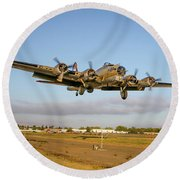 B17 Short Final At Livermore Round Beach Towel