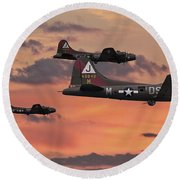 Round Beach Towel featuring the digital art B17 - Sunset Home by Pat Speirs