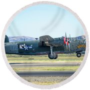 B24 Liberator Takeoff At Livermore Round Beach Towel