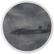 Round Beach Towel featuring the digital art B25 - 12th Usaaf by Pat Speirs
