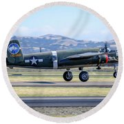 B25 Mitchell Bomber Take Off At Livermore Round Beach Towel