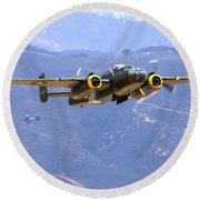 B25 Mitchell Flyby At Salinas Round Beach Towel