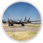 B29 Fifi Taxis At Modesto Kmod Round Beach Towel