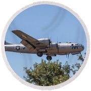 B29 Superfortress Short Final At Modesto Round Beach Towel