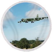 Round Beach Towel featuring the digital art B52 Stratofortress by Paul Gulliver
