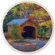 Round Beach Towel featuring the photograph Babb's Bridge In Autumn by Rick Berk