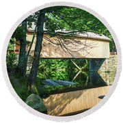 Round Beach Towel featuring the photograph Babb's Covered Bridge by Guy Whiteley