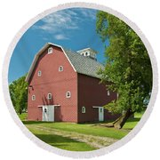 Round Beach Towel featuring the photograph Babcock Barn 2259 by Guy Whiteley