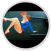 Round Beach Towel featuring the photograph Babe On Wwii Bomber The Show Me by Kathy Barney