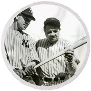 Babe Ruth And Lou Gehrig Round Beach Towel