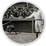 Babe Ruth At Bat Round Beach Towel