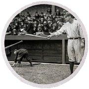 Babe Ruth At Bat Round Beach Towel by Jon Neidert