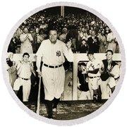 Babe Ruth At Yankee Stadium Round Beach Towel by Doc Braham