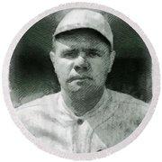 Babe Ruth, Baseball Player Round Beach Towel