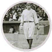Babe Ruth Going To Bat Round Beach Towel by Jon Neidert