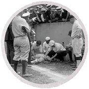 Babe Ruth Knocked Out By A Wild Pitch Round Beach Towel