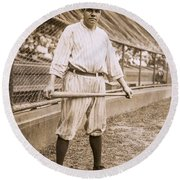 Babe Ruth On Deck Round Beach Towel