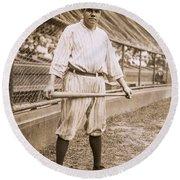Babe Ruth On Deck Round Beach Towel by Jon Neidert