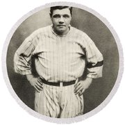 Babe Ruth Portrait Round Beach Towel