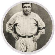 Babe Ruth Portrait Round Beach Towel by Jon Neidert