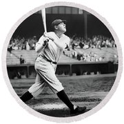 Babe Ruth Swing 62717 Round Beach Towel