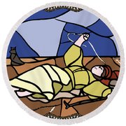 Babie Lato Stained Glass Version Round Beach Towel