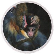 Baboon Mother And Baby Round Beach Towel by David Stribbling