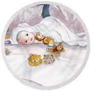 Baby And Friends Round Beach Towel by Melly Terpening