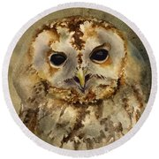 Baby Barred Owl Round Beach Towel
