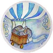 Baby Blue Elephants Round Beach Towel