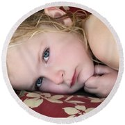 Baby Blue Eyes Round Beach Towel