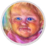Baby Blue Eyes Round Beach Towel by Shirley Moravec