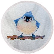 Baby Bluebird Round Beach Towel