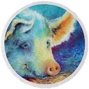 Baby Blues Piggy Round Beach Towel